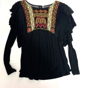 Free People Black Embroidered Ruffle Blouse XS